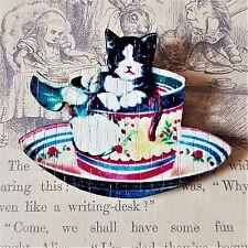 KoOkY KiTsCh VINTAGE TEACUP KITTY CAT FLOWERS PRINTED WOODEN BROOCH PIN 45mm