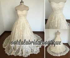 Champagne Wedding Dress Ball Gown lace applique any size custom