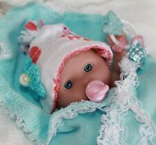 "OOAK 5-6"" Baby Girl Doll Clothes & ACC~Blue~Pink~5 PC~FOR Mini Reborn~Berenguer"