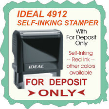 For Deposit Only, Bank Endorsement, Trodat / Ideal Rubber Stamp, 4912 Red Ink