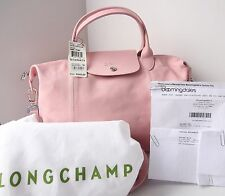 NWT Longchamp Le Pliage Cuir Medium Girl Pink Crossbody Tote Bag - $540 Receipt!