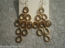 KENNETH COLE DESIGNER DANGLING GOLD TONE  EARRINGS