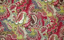 "RICHLOOM TEAK CARDINAL RED YELLOW FLORAL PAISLEY COTTON FABRIC BY THE YARD 54""W"