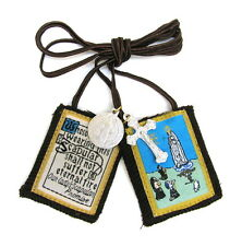Scapular Our Lady of Fatima Mt Carmel Brown Scapular 100% Wool & Medals Catholic