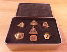NIB Gold Bronze with Black Number Color Metal Polyhedral RPG Set of 7 Dice