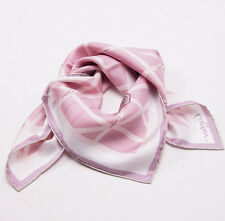 New Current Season $330 CARTIER Pink and White Logo Ribbon Motif Silk Scarf