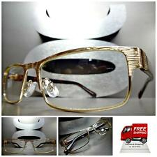 Men or Women CONTEMPORARY MODERN Style Clear Lens EYE GLASSES Gold Fashion Frame