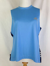 ADIDAS Womens Tank Top Shirt L Climalite Blue Workout Fitness Yoga Athletic Tops