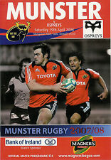 Munster v Ospreys Magners League 19 Apr 2008 Musgrave Park RUGBY PROGRAMME