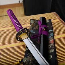 handmade full tang carbon steel blade japanese Katana samurai sword sharp purple