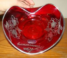40TH ANNIVERSARY ROCKWELL SILVER OVERLAY RED RUBY GLASS HEART BOWL with HANDLE