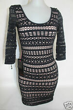 NWT bebe M L  black beige 2 layers slash nude overlay lace top dress bodycon