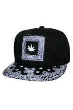 Marijuana / Cannabis / Hemp Lover Snap-back Hat in Black with Bandanna patch