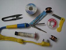 Replaceable Pencil Tip 25W Soldering Iron + Flux + Soldering Wire + De-Sold Wick