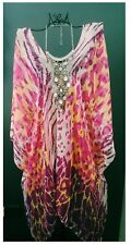 MAUVE PINK ANIMAL PRINT KAFTAN BEACH COVER RESORT LOOSE BOHO BATWING LONG TOP