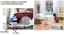 PACK OF 2 EXTRA LARGE STACKABLE GUSSETED VACUUM VAC DUVET BEDDING STORAGE BAGS