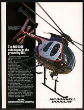 """1989 McDONNELL DOUGLAS MD 500E Police Helicopter Photo AD """"Creep up on crime"""""""