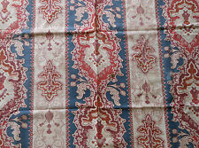 Antique French Art Nouveau Tapestry Floral Fabric #2 ~Blue Eggplant  Red  Rust ~