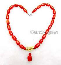 SALE Big 10-11mm Natural Red Thick Slice coral pendant 17'' Necklace-nec5929