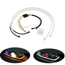 2x45cm Flexible Soft Tube LED Strip DRL White Amber Switchback Turn Signal Light