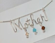 Mother Necklace with 3 Birthstones Sterling Silver .925 Wire Craft jewelry - Mom