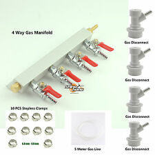 4 Way Gas Manifold Distribution CO2 Splitter Check Valves Complet kit Disconnect