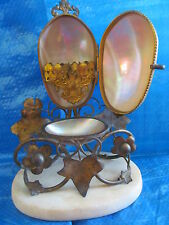 Antique 1800s French Palais Royal Casket Perfume Bottle Holder~Hinged Shell Box