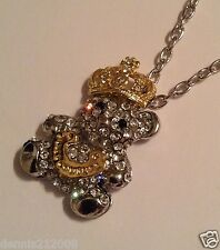 Stunning huge crystal bear with crown necklace pendant silver/gold tone B263