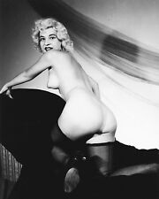 1950s Nude Pinup kneeling in black chair in black stockings 8 x 10 Photograph