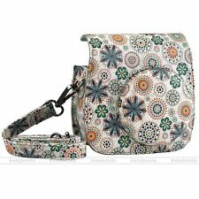 1x Instant Camera Case PU Leather Floral Shoulder Bag for Fujifilm Instax Mini 8