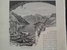 Bellagio Lombardy Lake Como Northern Italy Antique Engraving 1878