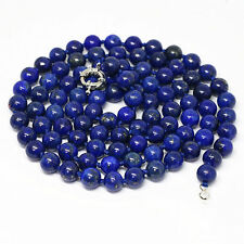 Natural Egyptian 8mm blue lapis lazuli jasper long chain round bead necklace 36""
