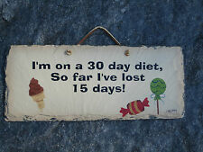 DIET Original Painting on Slate Ice Cream Candy by Plain Jane