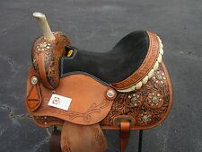 15 16 SILVER SHOW BARREL RACING PLEASURE TOOLED LEATHER WESTERN HORSE SADDLE
