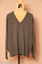 Collec Aon Galleries 100% Cashmere Gray V-Neck Sweater XL Extra Large