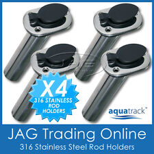 4 x 316 MARINE GRADE STAINLESS STEEL 30° ANGLED FISHING BOAT ROD HOLDERS & CAPS