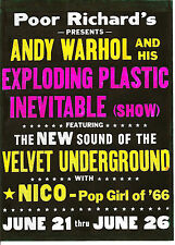 VELVET UNDERGROUND  POSTER  Lou Reed, Nico, Andy Warhol