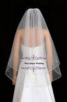 2T White Ivory Fingertip Swarovski Crystal Rhinestones Wedding Bridal Veil