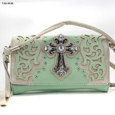 2066 W79 CROSS MINT  WESTERN RHINESTONE CROSS CROSS BODY WRISTLET PURSE WALLET