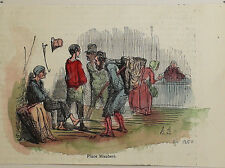 Honore Daumier France 1808-1879 Hand colored wood cut Place Maubert