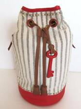 Fossil Hudson Multistripe Canvas/Leather Sling Backpack #ZB6575993 NWT