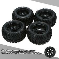 4Pcs Black Wheel Rim and Tire for 1/10 HSP 94111 94188 Monster Truck U3H0