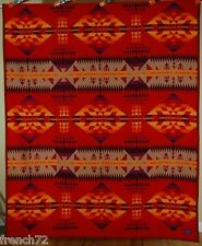 OUTSTANDING Red Pendleton Beaver State Wool Blanket ~GREAT INDIAN DESIGN!