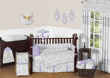 BOUTIQUE DESIGNER LAVENDER PURPLE GREY WHITE DAMASK BABY GIRL CRIB BEDDING SET