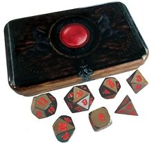 Black and Red Color- Solid Metal Role Playing Game Dice with Warlock Tome Case