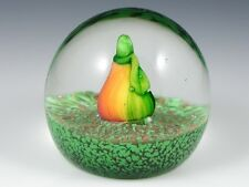 Vintage Murano Italy Art Glass PAPERWEIGHT FRUIT PEAR ON GREEN & GOLD BASE Rare