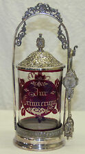 Antique Silver Plated Pickle Castor w/ Ruby Red Bohemian Glass Insert German