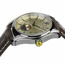 Official Scuderia Ferrari Mens GTB-C Brown Leather Strap Watch RRP £199 NEW