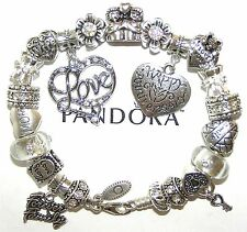 Authentic Pandora Silver Bracelet WIFE ANNIVERSARY, LOVE with European Charms