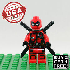 Custom Marvel Deadpool Minifigure Wade Wilson The Red Brick Guy X-Force X-Men 2